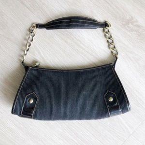 Eric Javits Weave Chain Shoulder Bag Purse Black